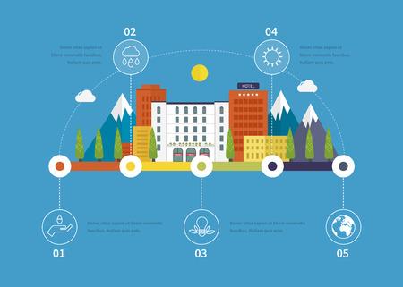 digital illustration: Ecology illustration infographic elements flat design. City landscape. Flat design vector concept illustration with icons of ecology, environment, eco friendly. Buildings icons. Illustration