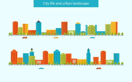 city live: Flat design modern vector illustration icons set of urban landscape and city life. Buildings colorful icons Illustration