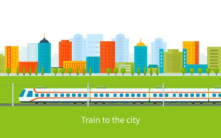 railroad: Flat design modern vector illustration icons set of urban landscape and train on railway Illustration