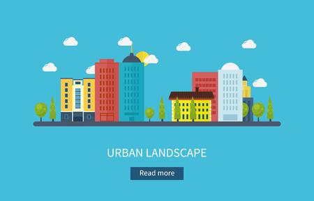 urban colors: Piso de dise�o modernos ilustraci�n vectorial conjunto de iconos del paisaje urbano y la vida de la ciudad. Icono Building Vectores