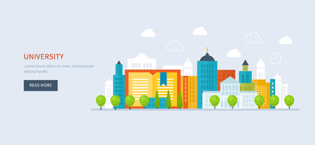 training course: Flat design modern vector illustration icons set of global education, online training courses, staff training, specialization, university, tutorials. School and university building icon. Urban landscape. Illustration