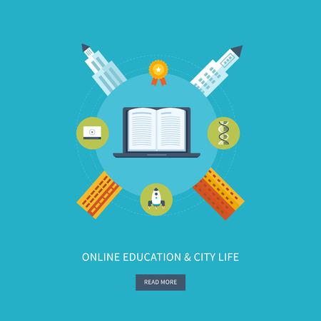 city life: Flat design modern vector illustration icons set of online education, university, urban landscape and city life Illustration