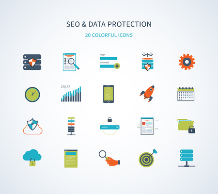 Flat design modern vector illustration icons set of website SEO optimization, social network security, data protection and web analytics elements.