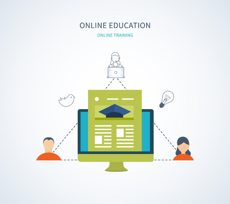 web courses: Flat design modern vector illustration icons set of online education and e-learning. Online course from universities and colleges proposes video-on-demand, forum, communication. Illustration