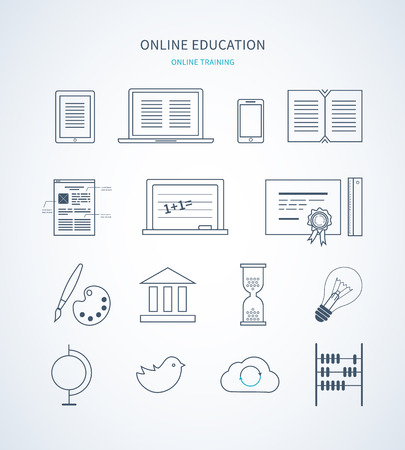computer science: Flat design modern vector illustration icons set of distance education, e-learning, courses and training. Thin line icons. Illustration