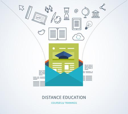 aprendizaje: Diseño plano vector moderna ilustración iconos conjunto de la educación a distancia, e-learning, cursos y formación Vectores