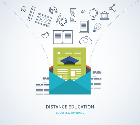 learning concept: Flat design modern vector illustration icons set of distance education, e-learning, courses and training Illustration