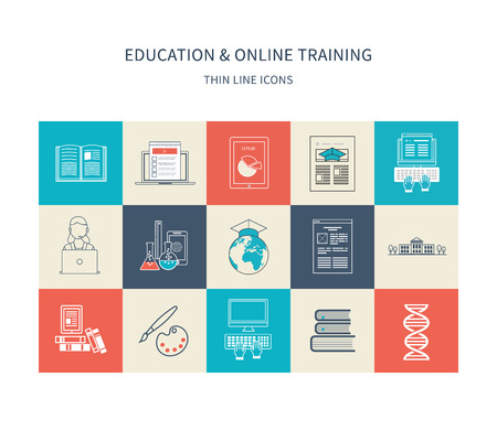 education icons: Flat design modern vector illustration icons set of distance education, e-learning, courses and training. Thin line icons. Illustration