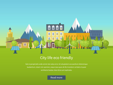bioedilizia: Paesaggio urbano. Piatto disegno vettoriale concetto illustrazione con le icone di ecologia, ambiente, energia eco friendly e la tecnologia verde. Concetto di bioedilizia ed energia pulita Vettoriali