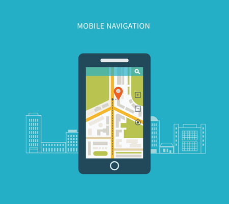 road trip: Mobile gps navigation on mobile phone with map. Mobile technologies concept.