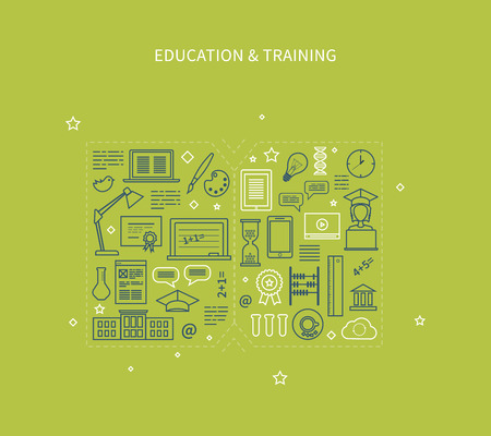 Flat design modern vector illustration icons set of distance education, e-learning, courses and training. All elements are presented as a book Illustration
