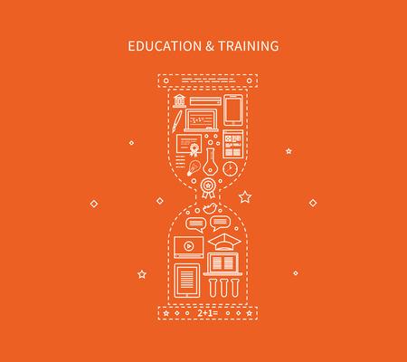 Flat Design illustrazione moderno vettore Set di icone di formazione a distanza, e-learning, corsi e formazione. Archivio Fotografico - 41181926