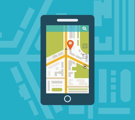 navigation map: Mobile gps navigation on mobile phone with map. Mobile technologies concept.