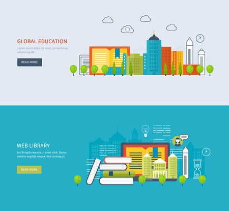 Flat design modern vector illustration icons set of global education, online training courses, web library, university, tutorials. School and university building icon. Urban landscape.