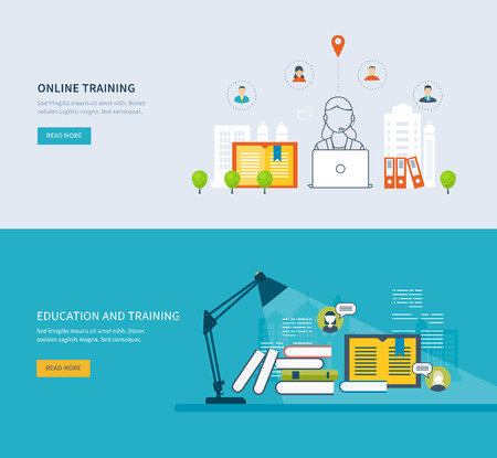 web icons: Flat design modern vector illustration icons set of online education, online training courses, web library, tutorials. School and university building icon. Urban landscape.