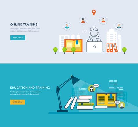 corsi di formazione: Flat Design moderno illustrazione vettoriale Set di icone di istruzione on-line, corsi di formazione online, biblioteca web, esercitazioni. Scuola ed edificio universitario icona. Paesaggio urbano.