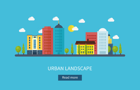 city live: Flat design modern vector illustration icons set of urban landscape and city life. Building icon