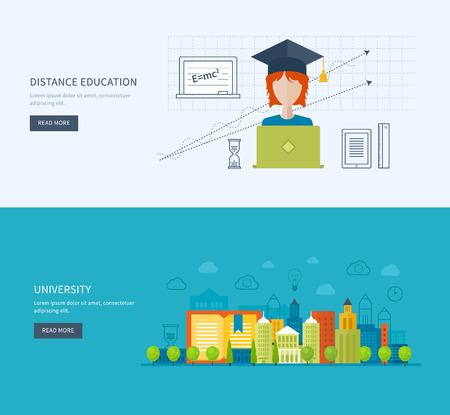 corsi di formazione: Flat Design moderno illustrazione vettoriale Set di icone di istruzione on-line, corsi di formazione online, formazione del personale, la specializzazione, universit�, esercitazioni. Scuola ed edificio universitario icona. Vettoriali