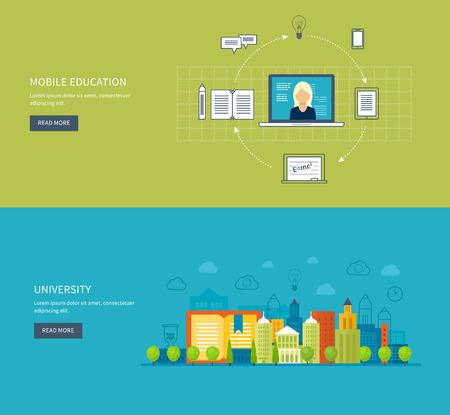 university building: Flat design modern vector illustration icons set of mobile education, online training courses, specialization, university, tutorials. School and university building icon. Urban landscape. Illustration