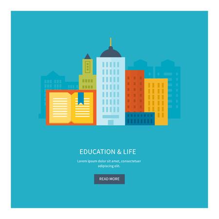 vida social: Piso de diseño modernos ilustración vectorial Conjunto de iconos de la educación en línea, el paisaje urbano y la vida de la ciudad