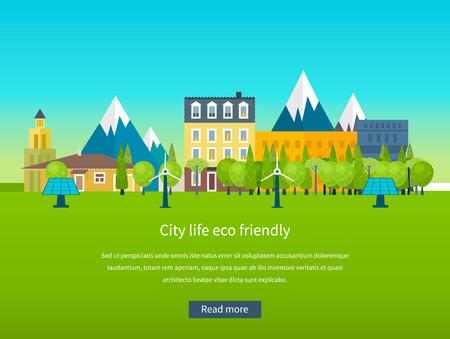 Paesaggio urbano. Piatto disegno vettoriale concetto illustrazione con le icone di ecologia, ambiente, energia eco friendly e la tecnologia verde. Concetto di bioedilizia ed energia pulita Archivio Fotografico - 41230788