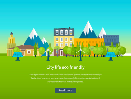 green building: Urban landscape. Flat design vector concept illustration with icons of ecology, environment, eco friendly energy and and green technology. Concept of green building and clean energy