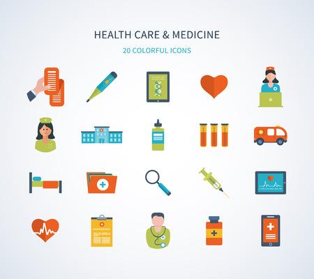 Set van platte ontwerp vector illustratie concepten voor de gezondheidszorg, eerste hulp, online medische diensten en ondersteuning. Concept voor banners en drukwerk Stock Illustratie