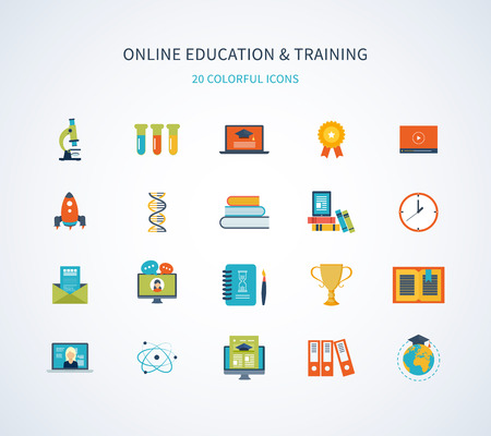 Flat design modern vector illustration icons set of online education and training Vettoriali