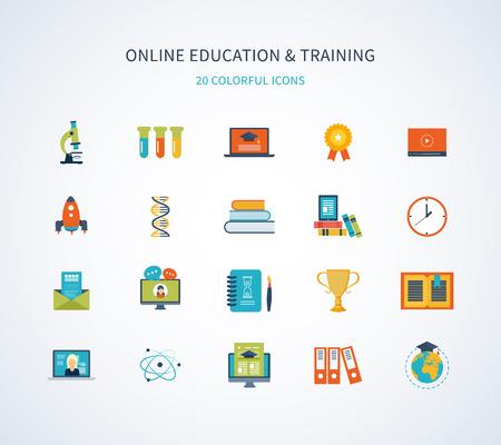 Platte ontwerp moderne vector illustratie iconen set van online onderwijs en opleiding Stock Illustratie