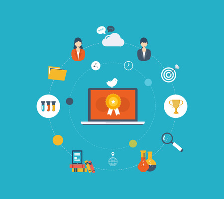 Flat design modern vector illustration icons set of online education and e-learning. Online course from universities and colleges proposes video-on-demand, forum, communication. Vettoriali