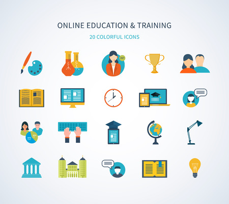 training consultant: Flat design modern vector illustration icons set of online education and training Illustration