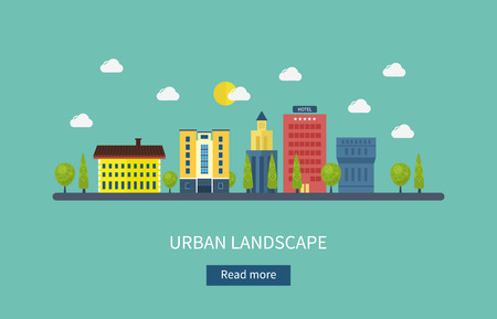 city icon: Flat design modern vector illustration icons set of urban landscape and city life. Building icon