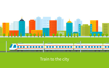 train: Flat design modern vector illustration icons set of urban landscape and train on railway Illustration