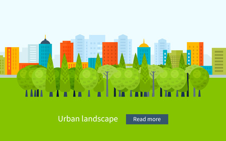 urban landscapes: Flat design modern vector illustration icons set of urban landscape and city life. Building icon