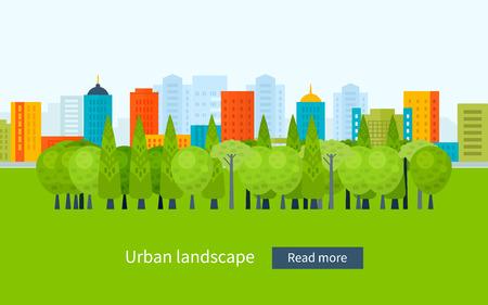 Platte ontwerp moderne vector illustratie pictogrammen instellen van stedelijk landschap en de stad leven. Gebouw pictogram Stock Illustratie