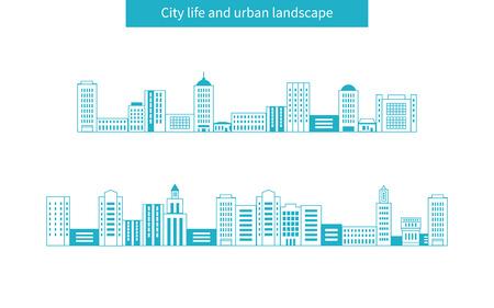 フラットなデザイン モダンなベクトル イラスト アイコンは、都市景観や都市生活のセットします。建物の細い線アイコン
