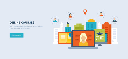 specialization: Flat design modern vector illustration icons set of online education and online training courses, specialization, university, tutorials. School and university building icon. Urban landscape.