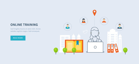 office environment: Flat design modern vector illustration icons set of online education and online training courses, specialization, university, tutorials. School and university building icon. Urban landscape.