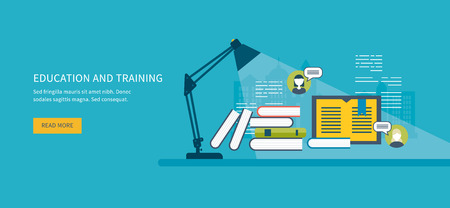 Flat design modern vector illustration icons set of online education, online training courses, web library, tutorials.  Distance communication and training