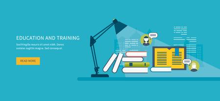 Piso de diseño modernos ilustración vectorial Conjunto de iconos de la educación en línea, cursos de capacitación en línea, biblioteca web, tutoriales. Comunicación a distancia y formación Ilustración de vector