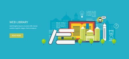 university building: Flat design modern vector illustration icons set of online education, online training courses, web library, university, tutorials. School and university building icon. Urban landscape.