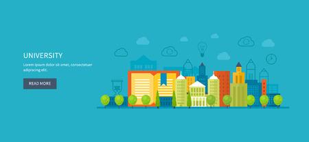 corsi di formazione: Flat Design moderno illustrazione vettoriale Set di icone di educazione globale, corsi di formazione online, formazione del personale, la specializzazione, universit�, esercitazioni. Scuola ed edificio universitario icona. Paesaggio urbano.