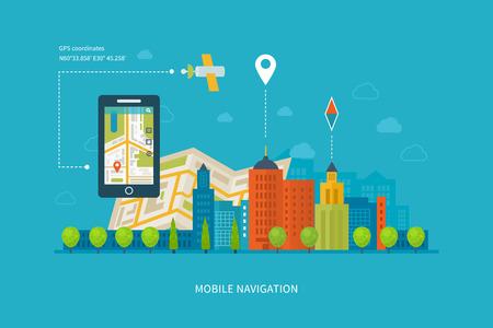Vector illustratie Het concept van die slimme telefoon met mobiele navigatie. Platte ontwerp moderne vector illustratie iconen set van stedelijk landschap en het leven in de stad. Building pictogram.