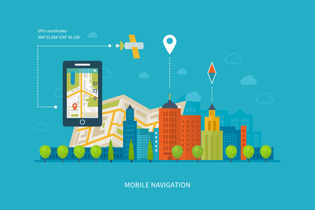 city building: Vector illustration concept of  holding smart-phone with mobile navigation. Flat design modern vector illustration icons set of urban landscape and city life. Building icon.