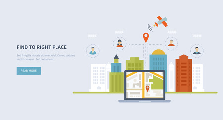 Concepts for finding the right place and people on the map for travel and tourism. Mobile gps navigation on laptop with map. Mobile technologies concept. Building icon.