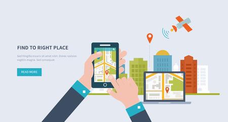 Conceptos para encontrar el lugar adecuado y la gente en el mapa de los viajes y el turismo. Navegación GPS móvil en la computadora portátil y el teléfono móvil con el mapa. Mobile concepto tecnologías. Icono Building.