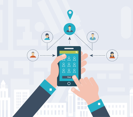 home search: Concepts for finding the right place and people on the map for travel and tourism. Mobile gps navigation on laptop with map. Mobile technologies concept. Building icon.