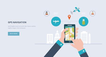 navegacion: Ilustración vectorial concepto de la celebración de los teléfonos inteligentes con la navegación móvil. Piso de diseño modernos ilustración vectorial conjunto de iconos del paisaje urbano y la vida urbana. Icono Building.