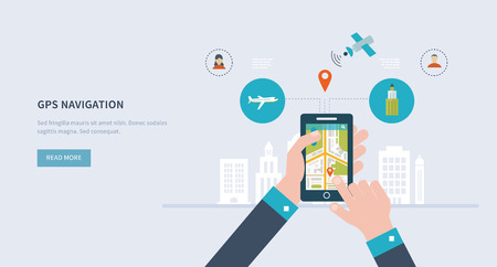 satellite navigation: Vector illustration concept of  holding smart-phone with mobile navigation. Flat design modern vector illustration icons set of urban landscape and city life. Building icon.