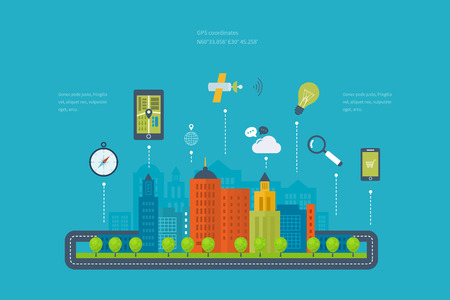 city: Vector illustration concept of  holding smart-phone with mobile navigation. Flat design modern vector illustration icons set of urban landscape and city life. Building icon.
